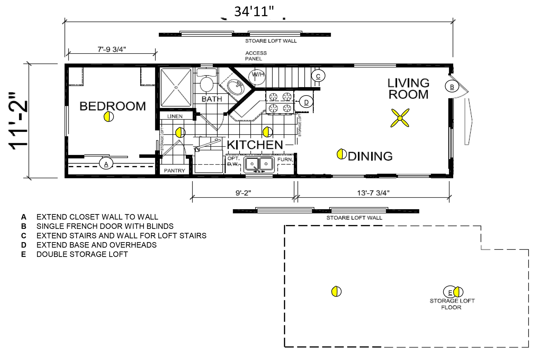 Floor Plan for Cochito - Fort Bragg California