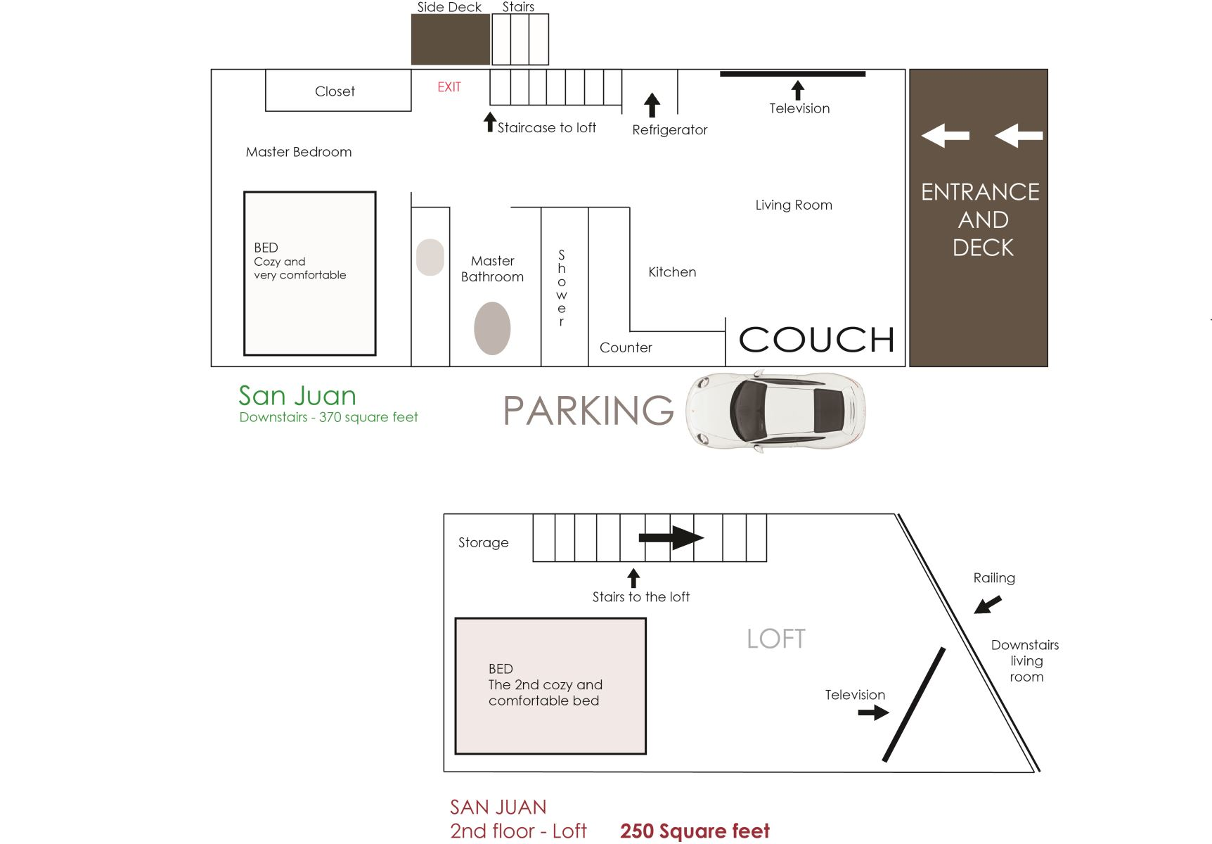 Floor Plan for San Juan - Fort Bragg California  WINTER RATES!